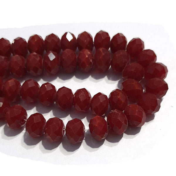 10 Strands Opaque Color Red Color Rondelle Shape Faceted Crystal Glass Beads for jewelry Making Wholesale