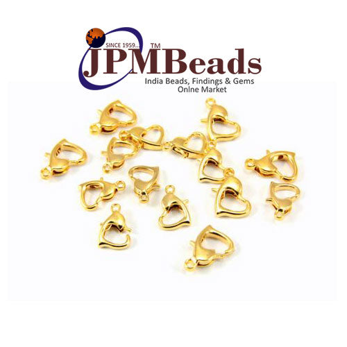 100 Pcs 10mm Heart Lobster Clasps Silver and Gold Plated