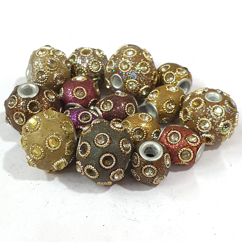 10x25mm measuring approx 10 Pieces handmade kashmiri lac beads.