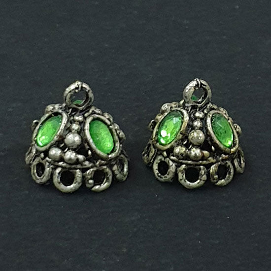 Per Kilo Pack 13x13mm Oxidized White Metal Base Jhumkas Findings Traditinal Indian