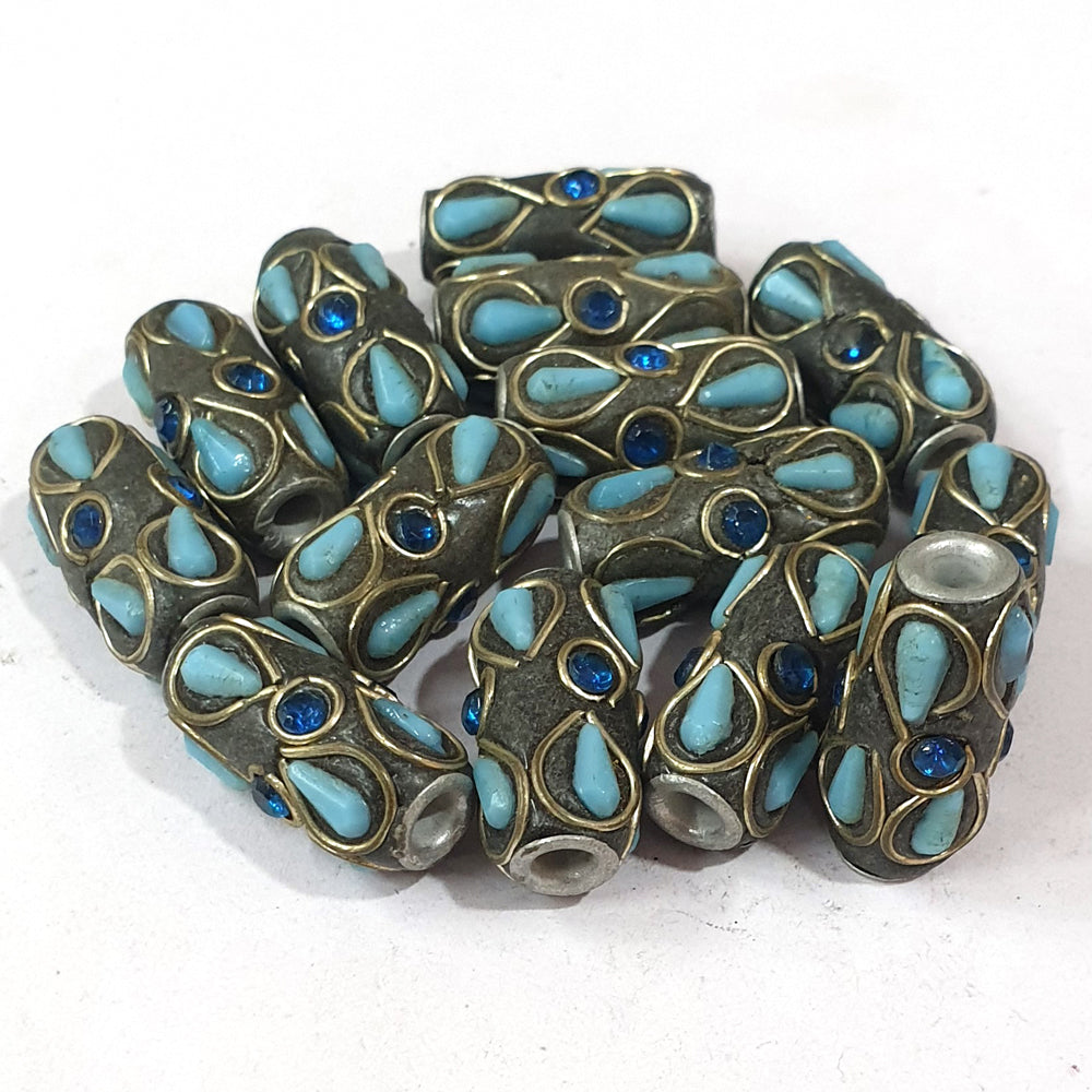 24x12mm measuring approx 10 Pieces handmade kashmiri lac beads.