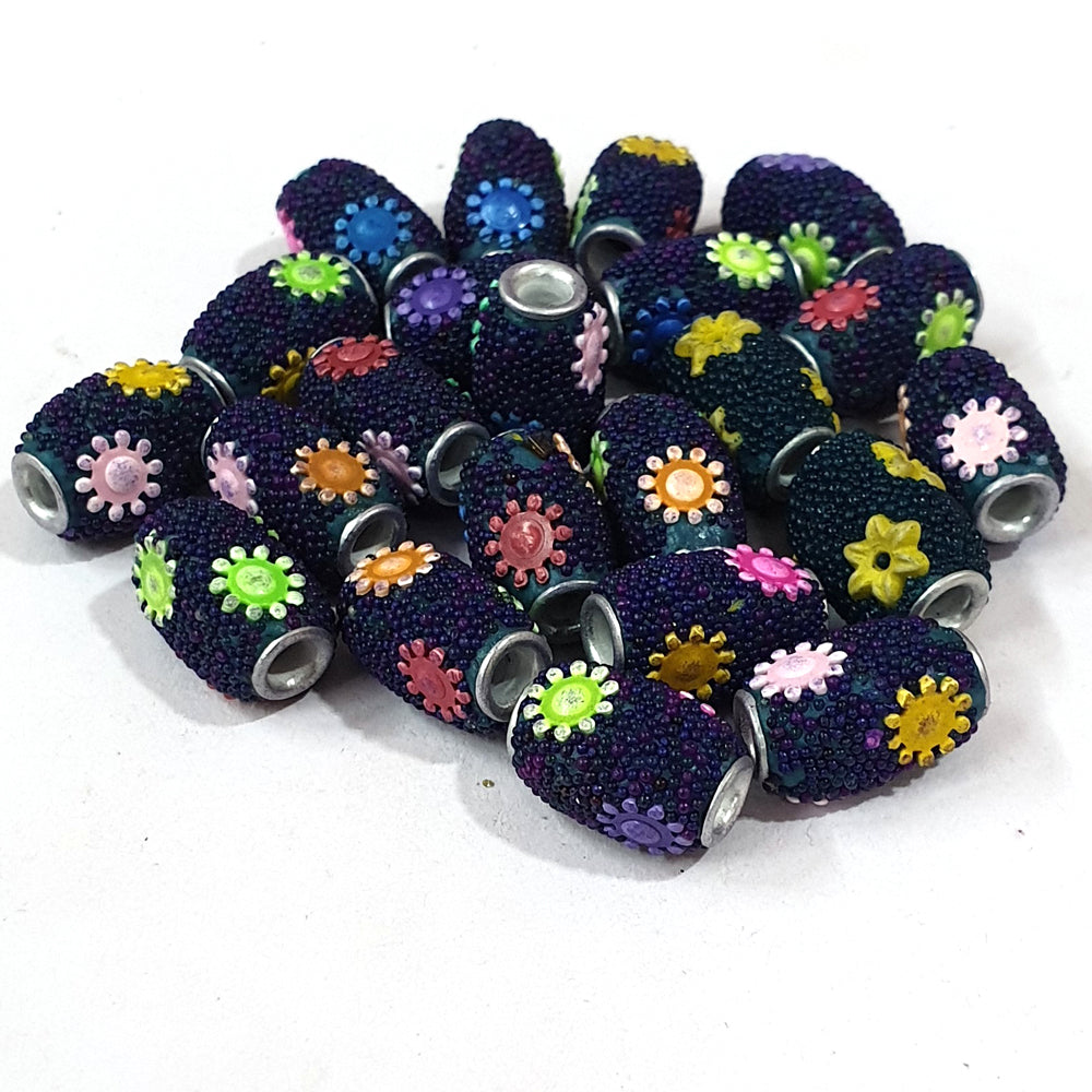 12x18mm measuring approx 10 Pieces handmade kashmiri lac beads.