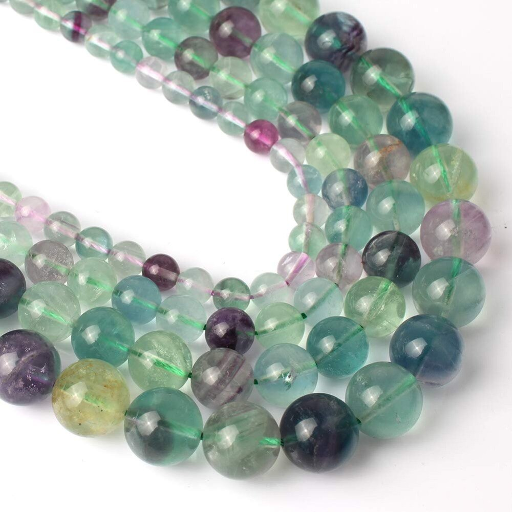 4 6 8 10 MM Natural Round Fluorite Beads For Making Jewelry Bracelet Diy Accessories Smooth Round Stone Strand Beads