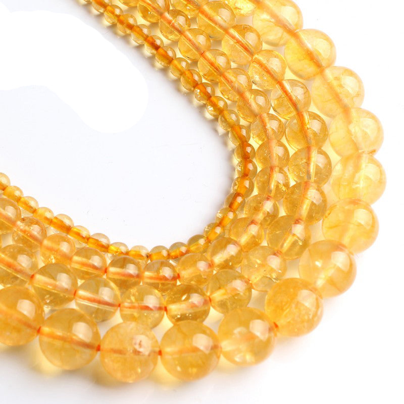 4 6 8 10 MM Natural Round Citrine Beads For Making Jewelry Bracelet Diy Accessories Smooth Round Stone Strand Beads