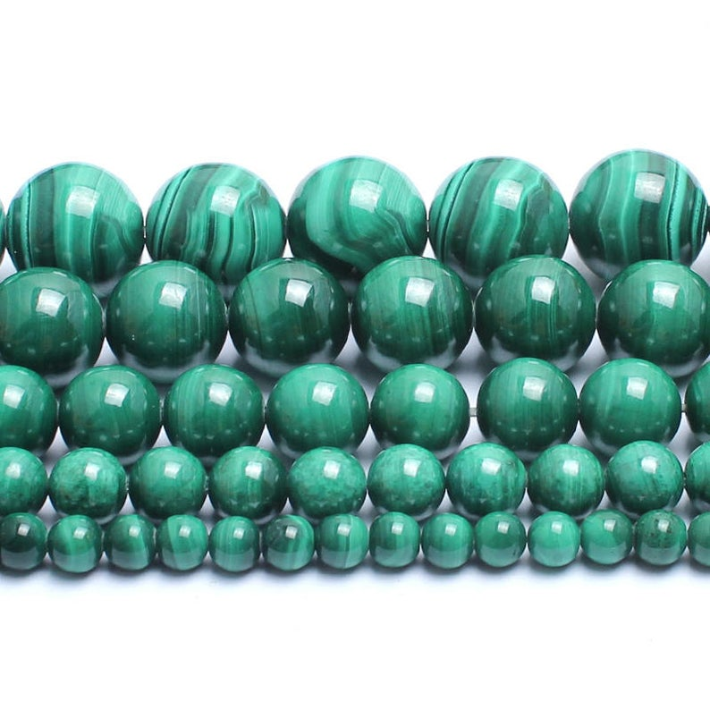 4 6 8 10 MM Natural Round malachite Beads For Making Jewelry Bracelet Diy Accessories Smooth Round Stone Strand Beads