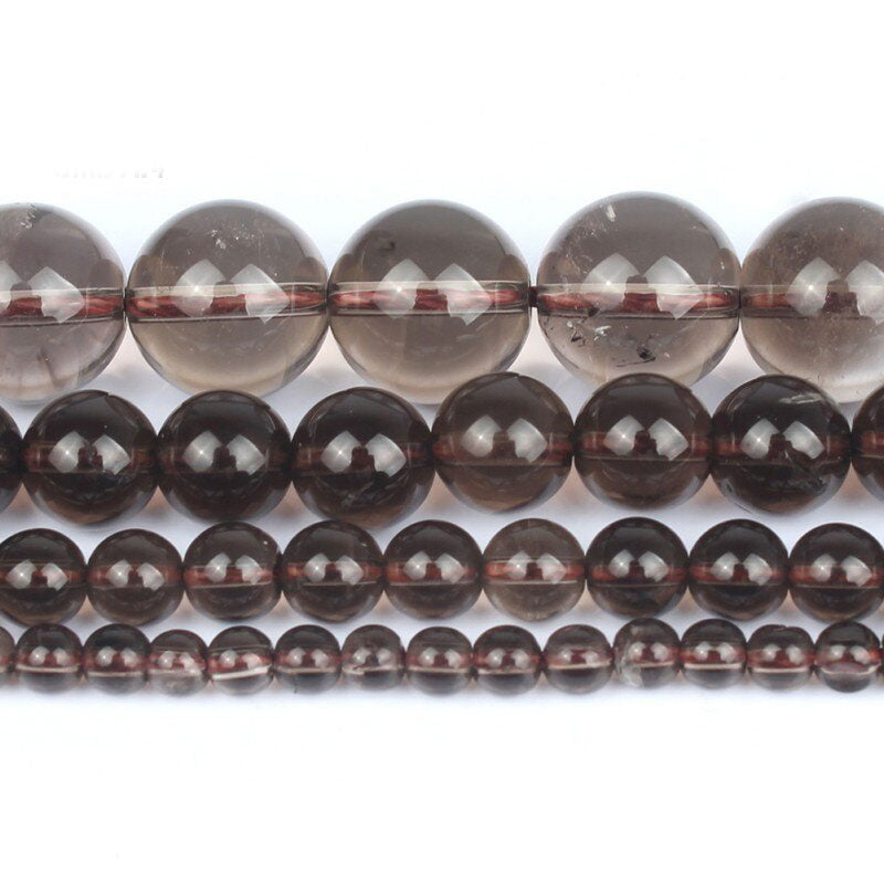 4 6 8 10 MM  Round Smoky Quartz Beads For Making Jewelry Bracelet Diy Accessories Smooth Round Stone Strand Beads