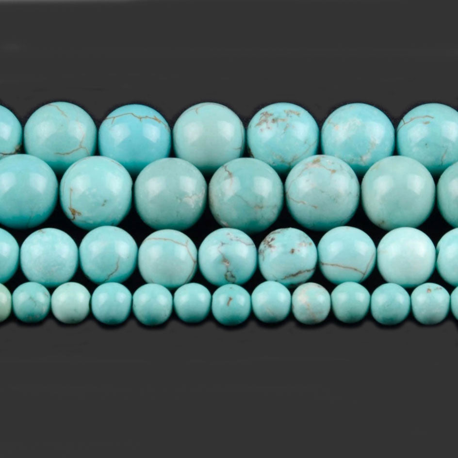 4 6 8 10 MM  Round Turquoise Beads For Making Jewelry Bracelet Diy Accessories Smooth Round Stone Strand Beads