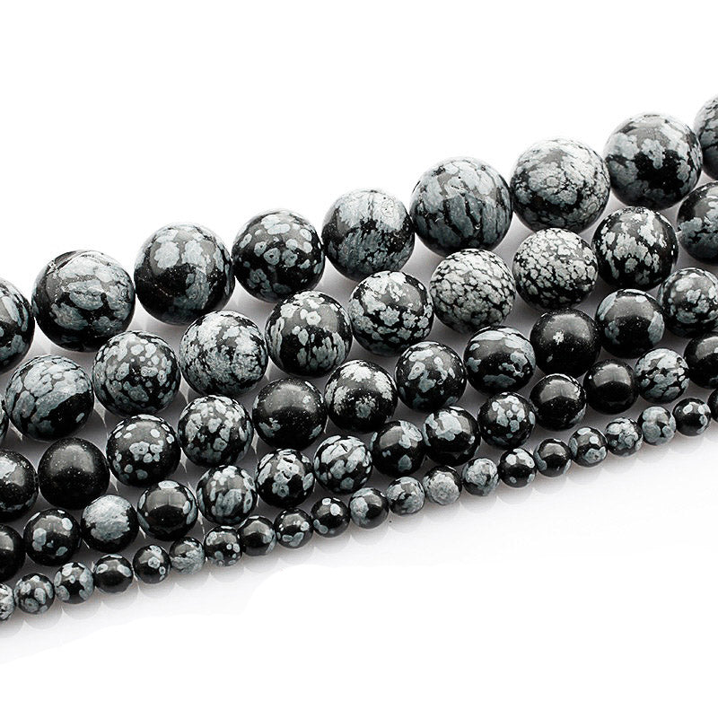 4 6 8 10 MM  Round Snowflake Obsidian Beads For Making Jewelry Bracelet Diy Accessories Smooth Round Stone Strand Beads