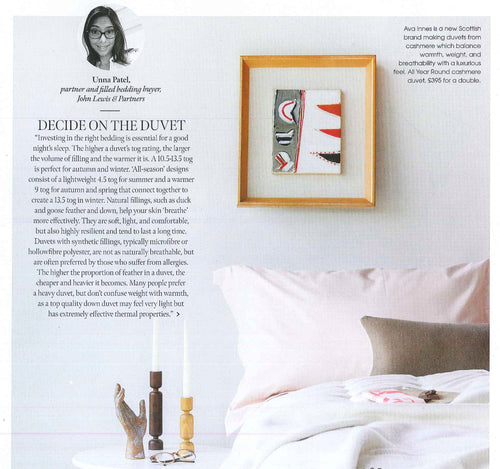 "AVA INNES duvets recommended in the ""Going Green"" issue -Jan 2020, of Kitchens Bedrooms & Bathrooms magazine."