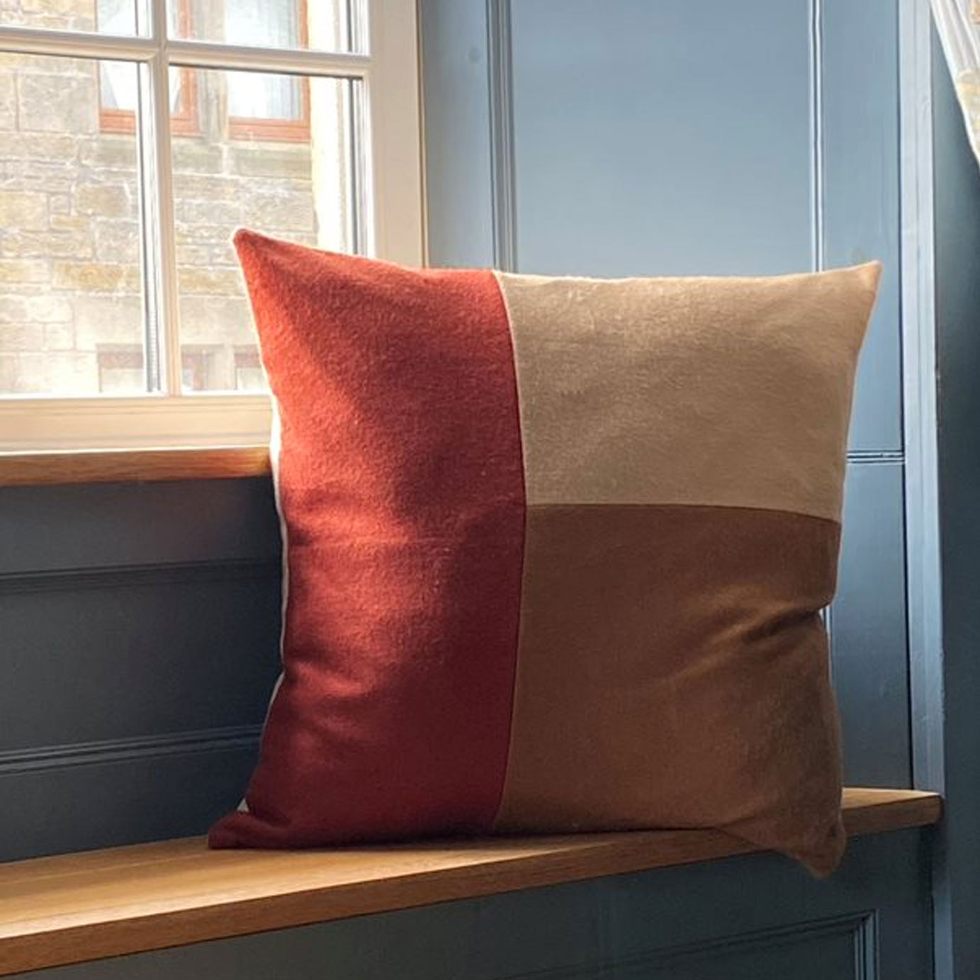 Camel Orange and Natural Colour Block Cashmere Cushion