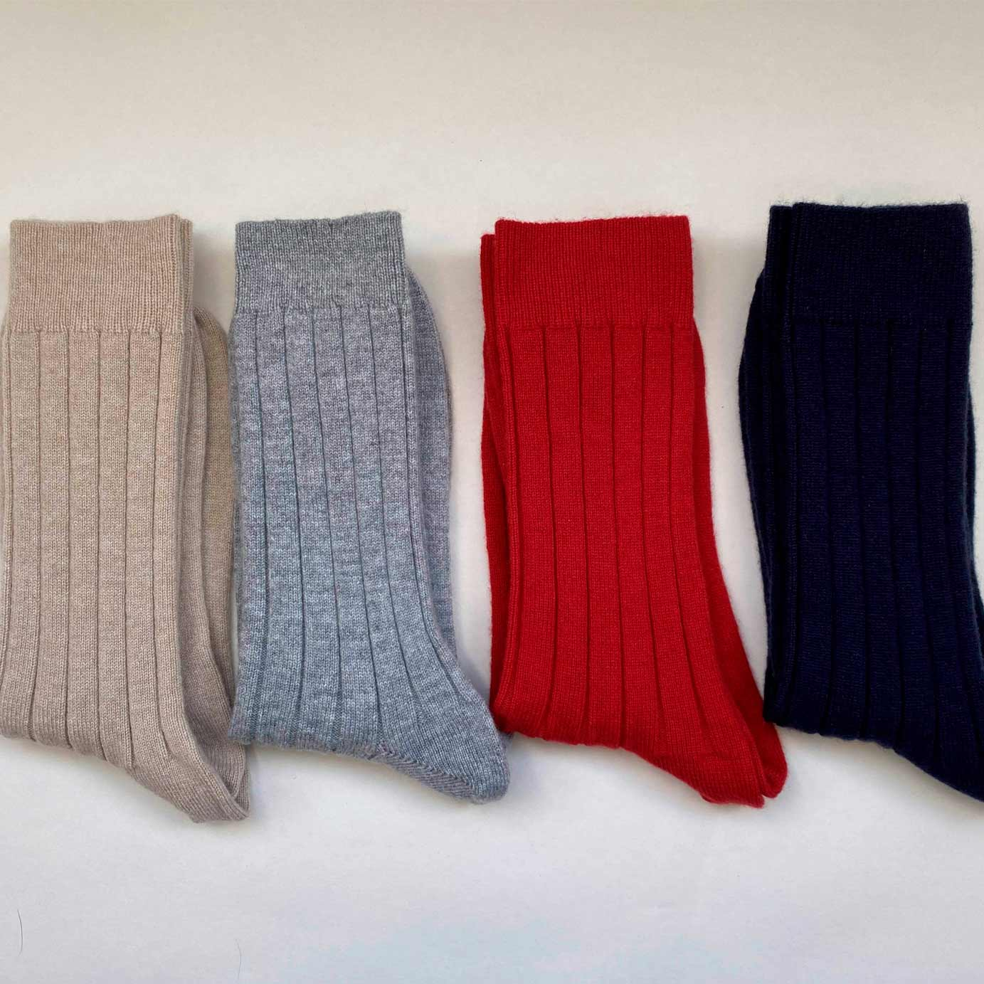 Men's Natural Luxury Ribbed Cashmere Socks