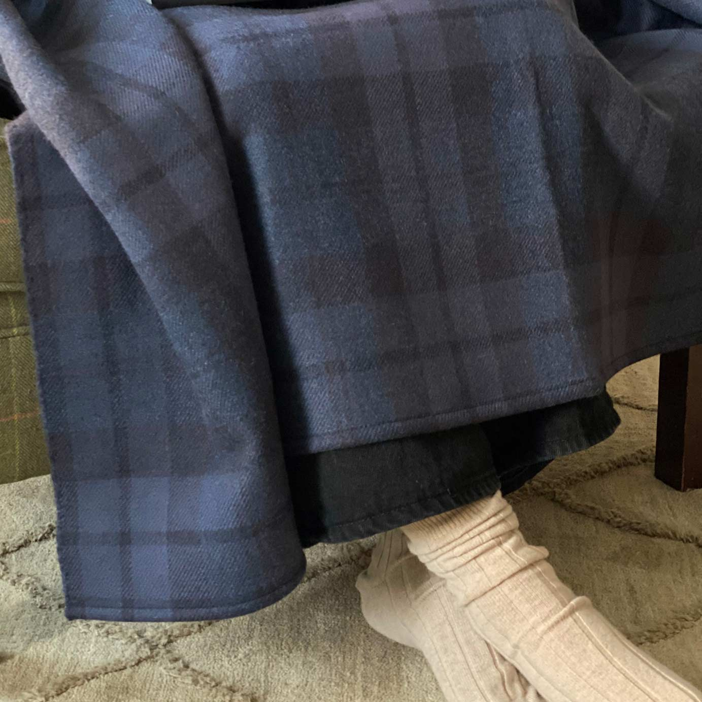 Indigo Plaid Luxury Cashmere Comfort Blanket