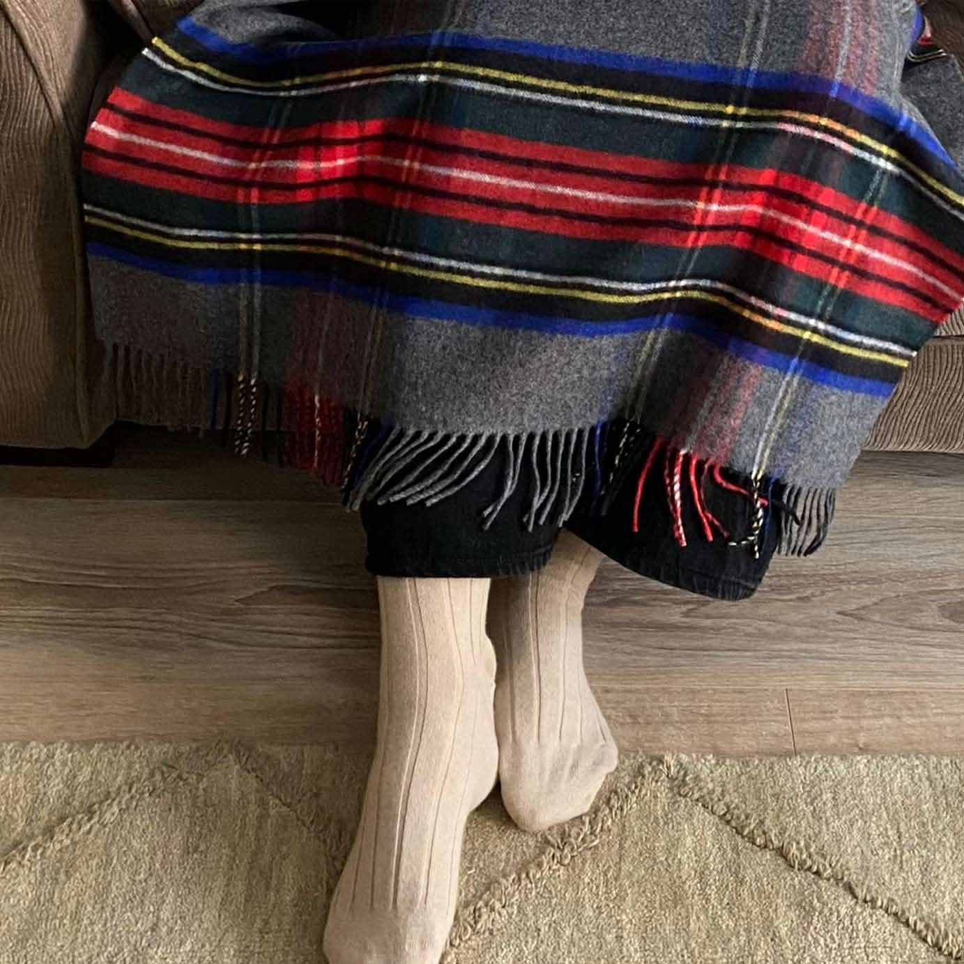 Grey Multi Plaid Luxury Small Cashmere Comfort Blanket