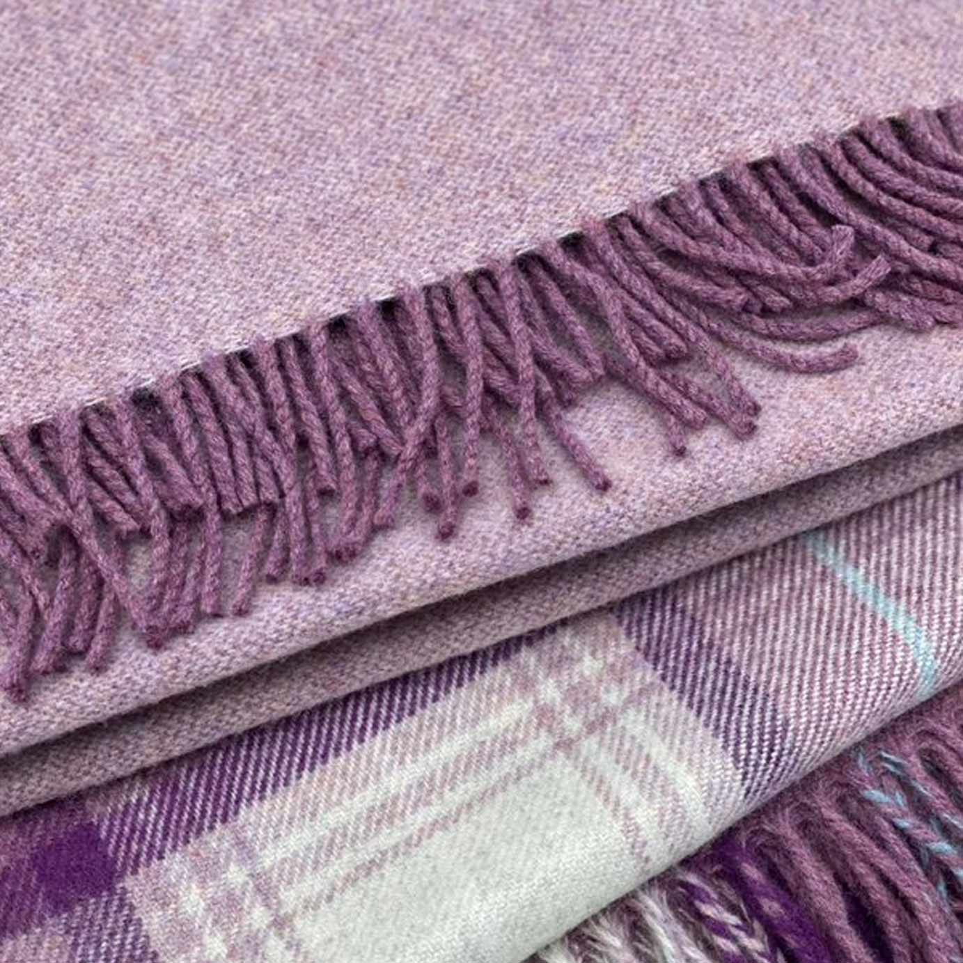 Speyside Heather Reversible Plain Merino Wool Blanket