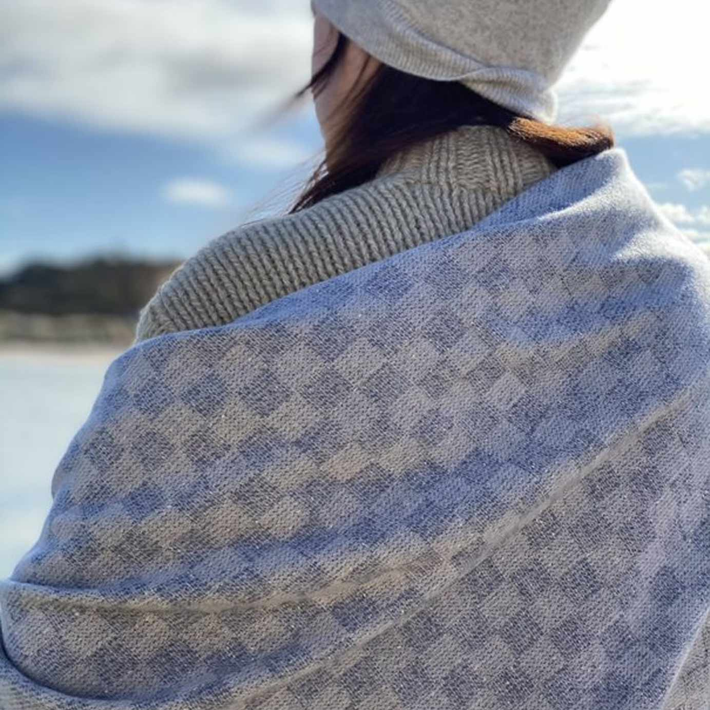 Luxury Sea Blue Cashmere Throw