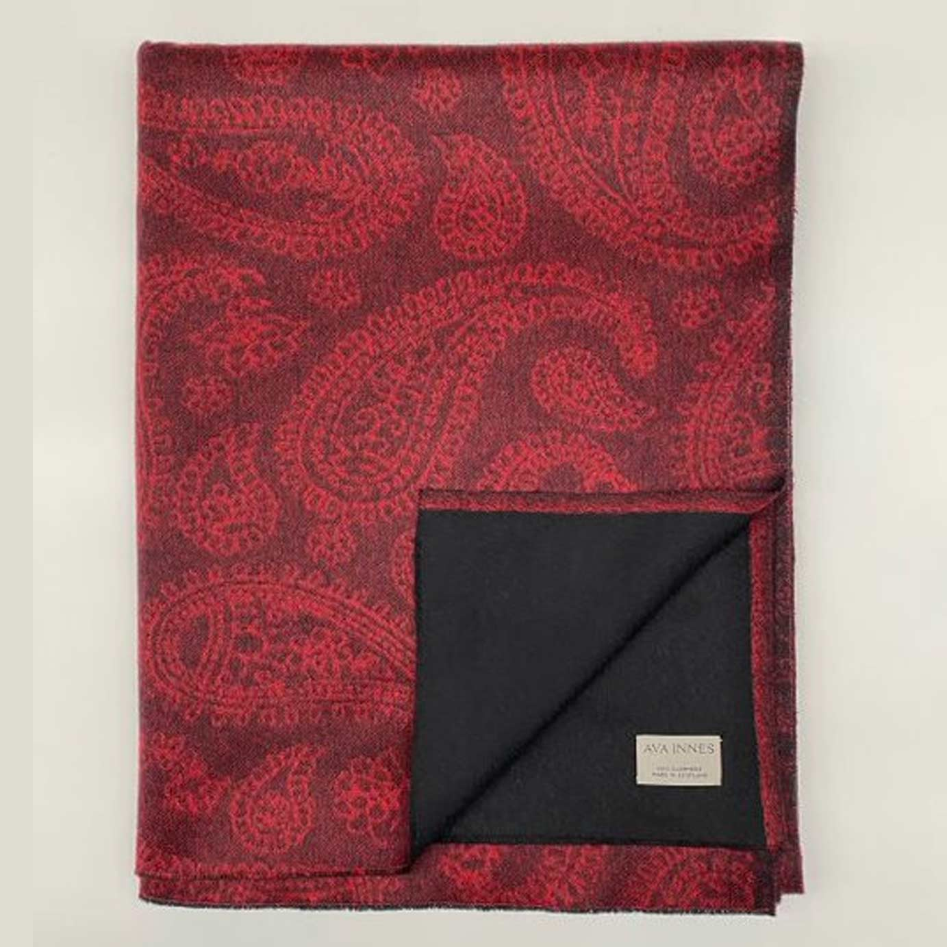 Luxury Red Paisley Cashmere Blanket