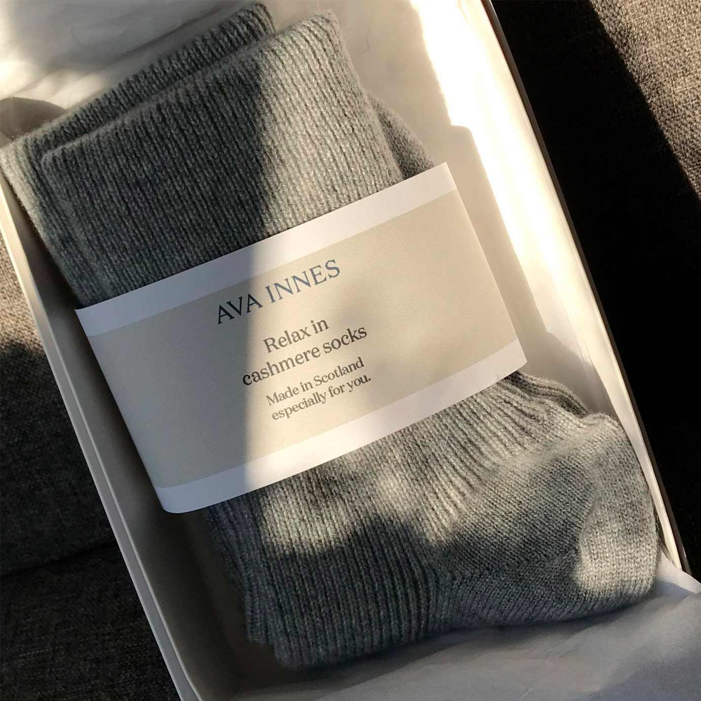Grey Cashmere Ribbed Socks
