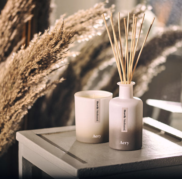 Aery Living Heavily Meditated Candle and Diffuser on Bedside table