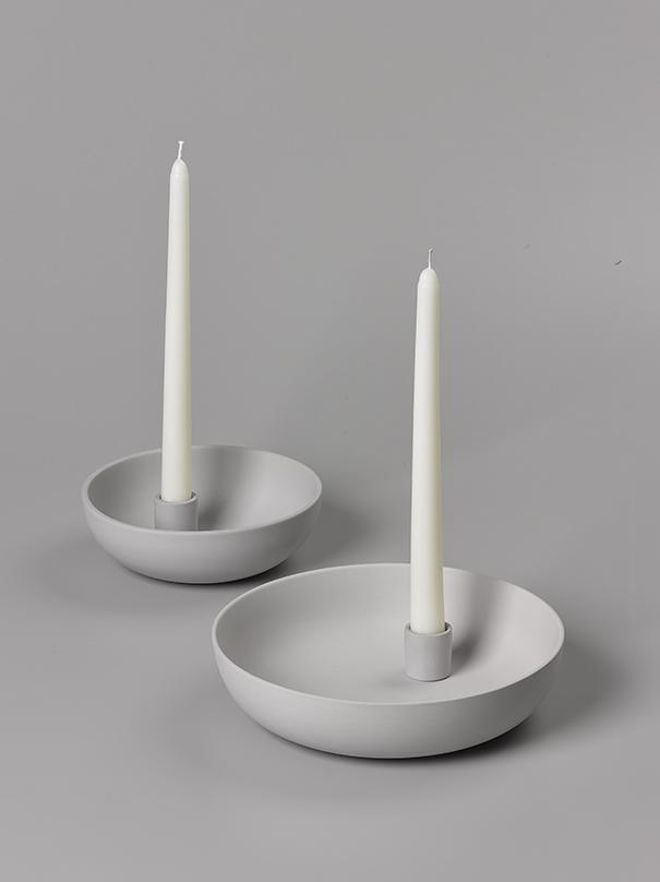 Orbital Grey Candle Holder in Matte Clay - Medium