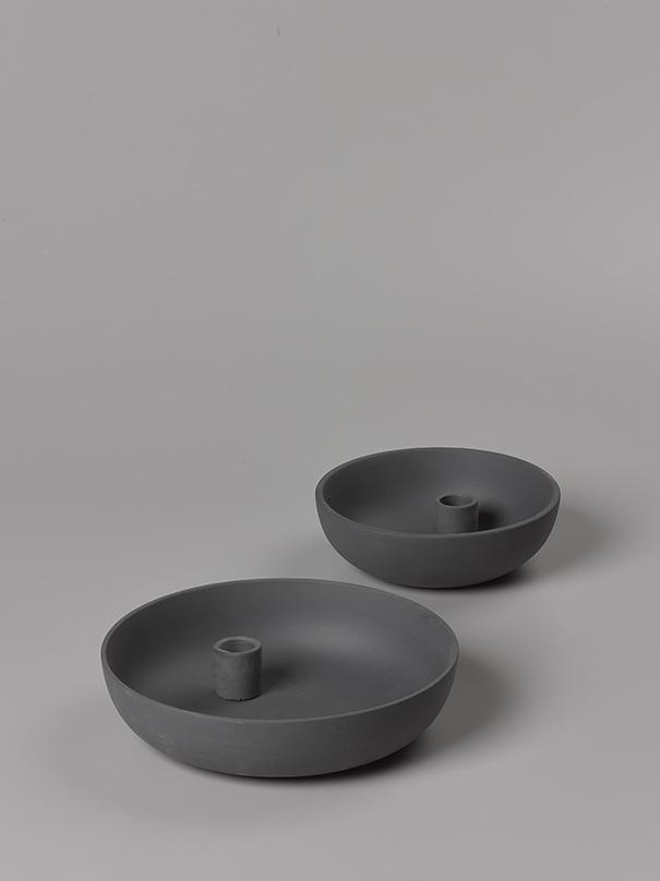Orbital Black Medium Candle Holder Matte Clay