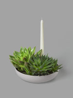 Orbital Grey Candle Holder in Matte Clay - Medium - Aery Living