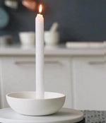Orbital White Candle Holder Medium Matte Clay
