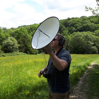 Searching for birds using a parabolic microphone