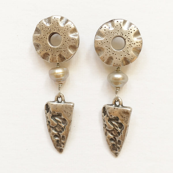 "Pierced Earrings E-P7-10 SP  (1.8""L)"