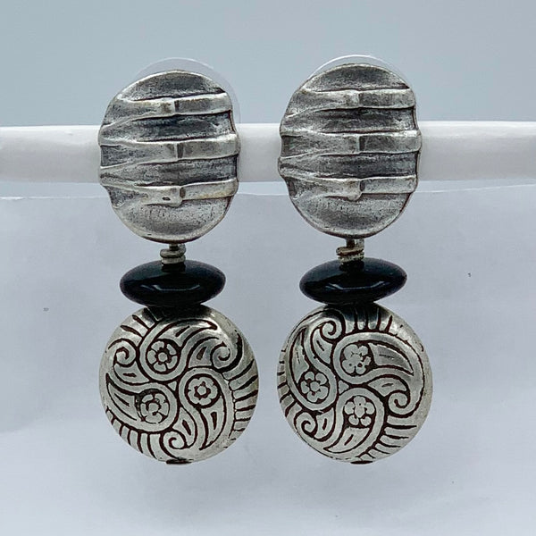 "Pierced Earrings E-P9-4 SP  (1.5""L)"