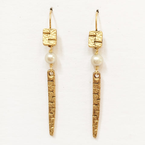 "Pierced Earrings E-W7-27 GP  (2.25""L)"
