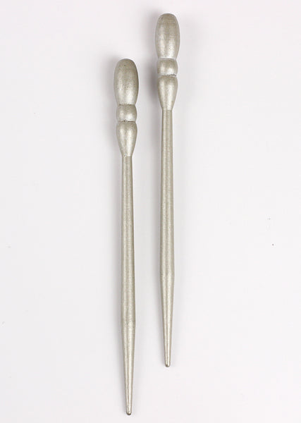 Silver All Wood Hair Sticks
