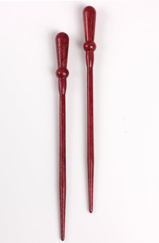 Garnet All Wood Hair Sticks