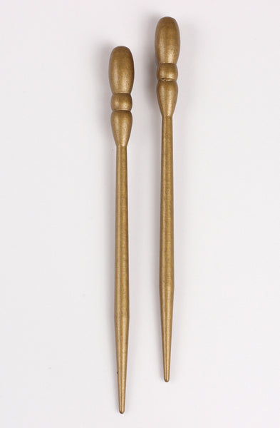 Old Gold All Wood Hair Sticks