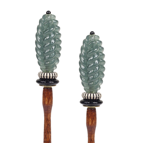 Pinecone Blue Hair Sticks