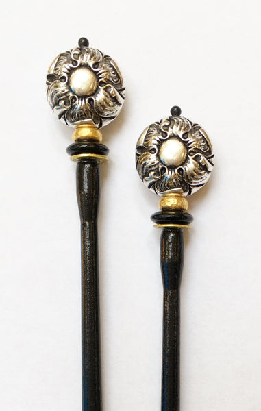 Sunflower Silver Hair Sticks