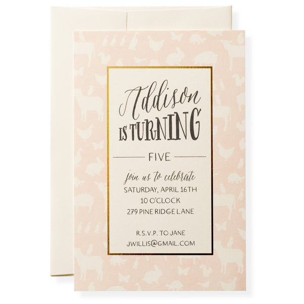 Animal Crackers in Pink Invitation-1