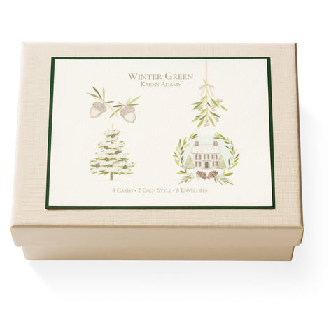 Winter Green Note Card Box