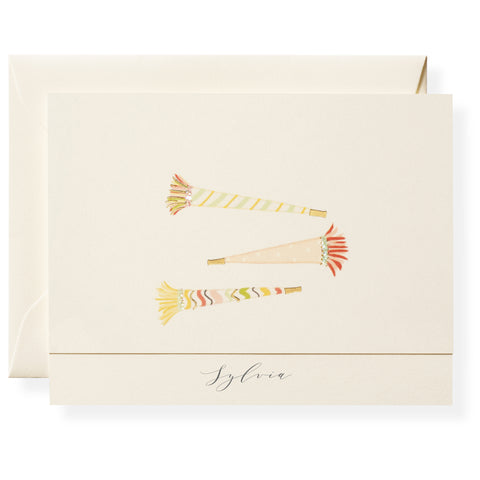Party Horns Personalized Note Cards