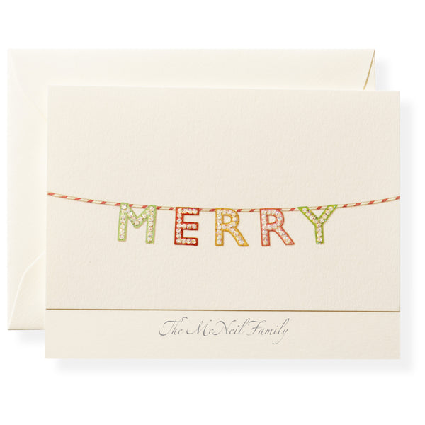 Merry Marquee Personalized Note Cards