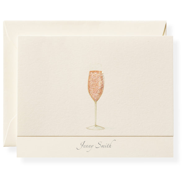 Pink Champagne Personalized Note Cards-1