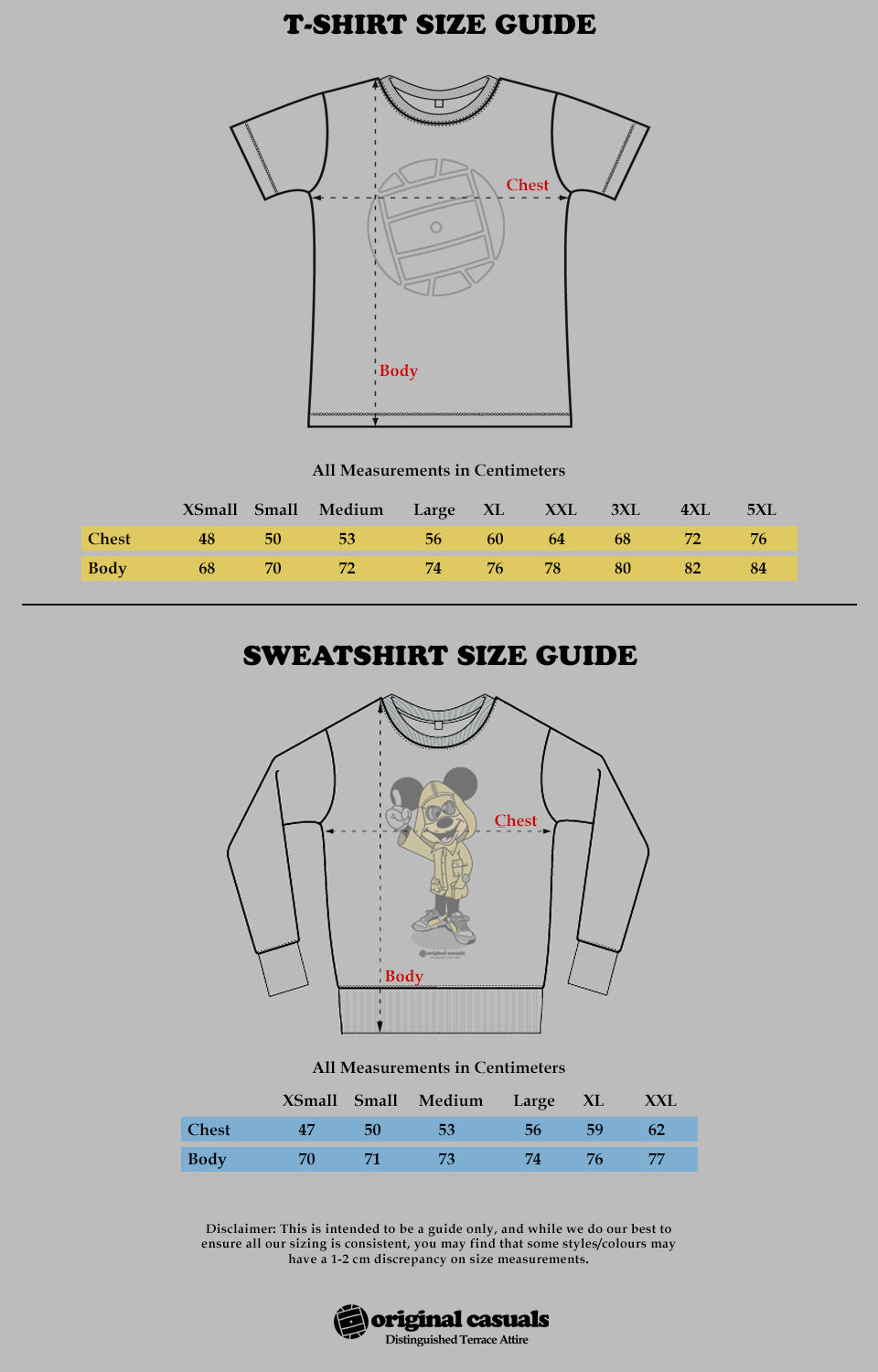 Original Casuals Clothing Size Guide