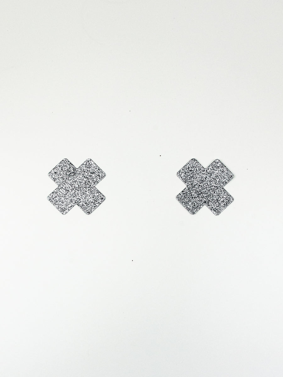 cross pasties silver