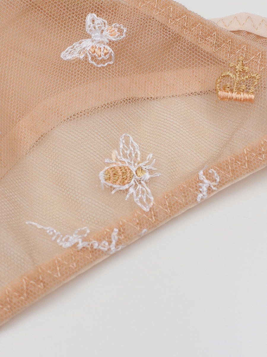 bee-embroidered thong