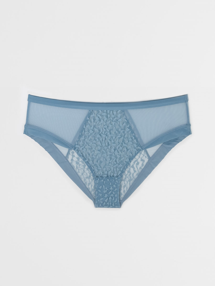 mid rise structured stretch lace and tulle brief