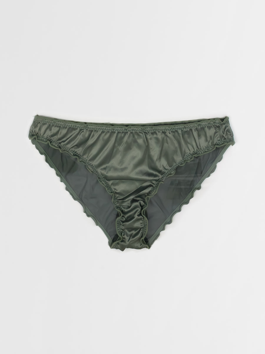 ruffled satin brief