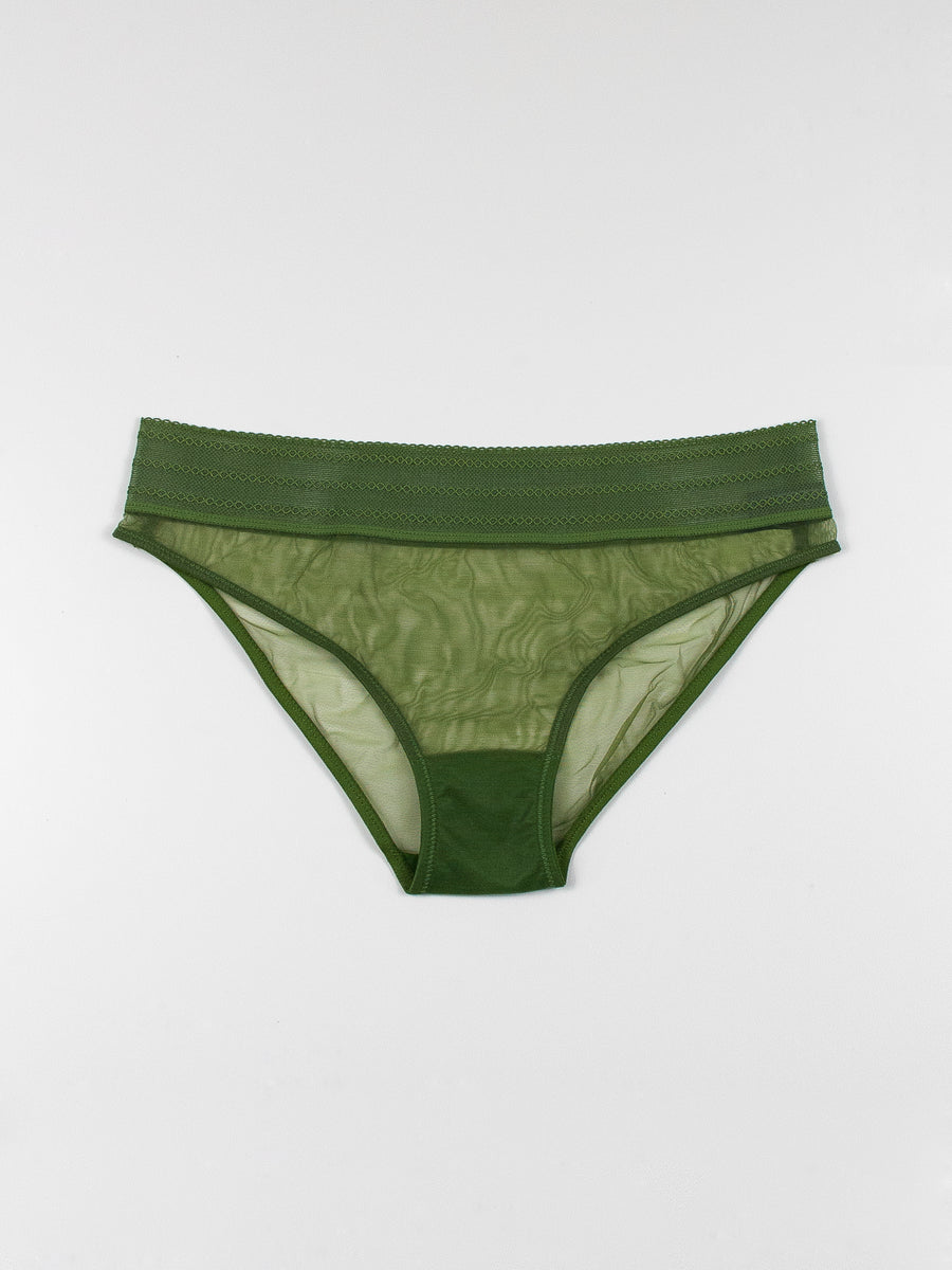bare lace trimmed stretch tulle brief