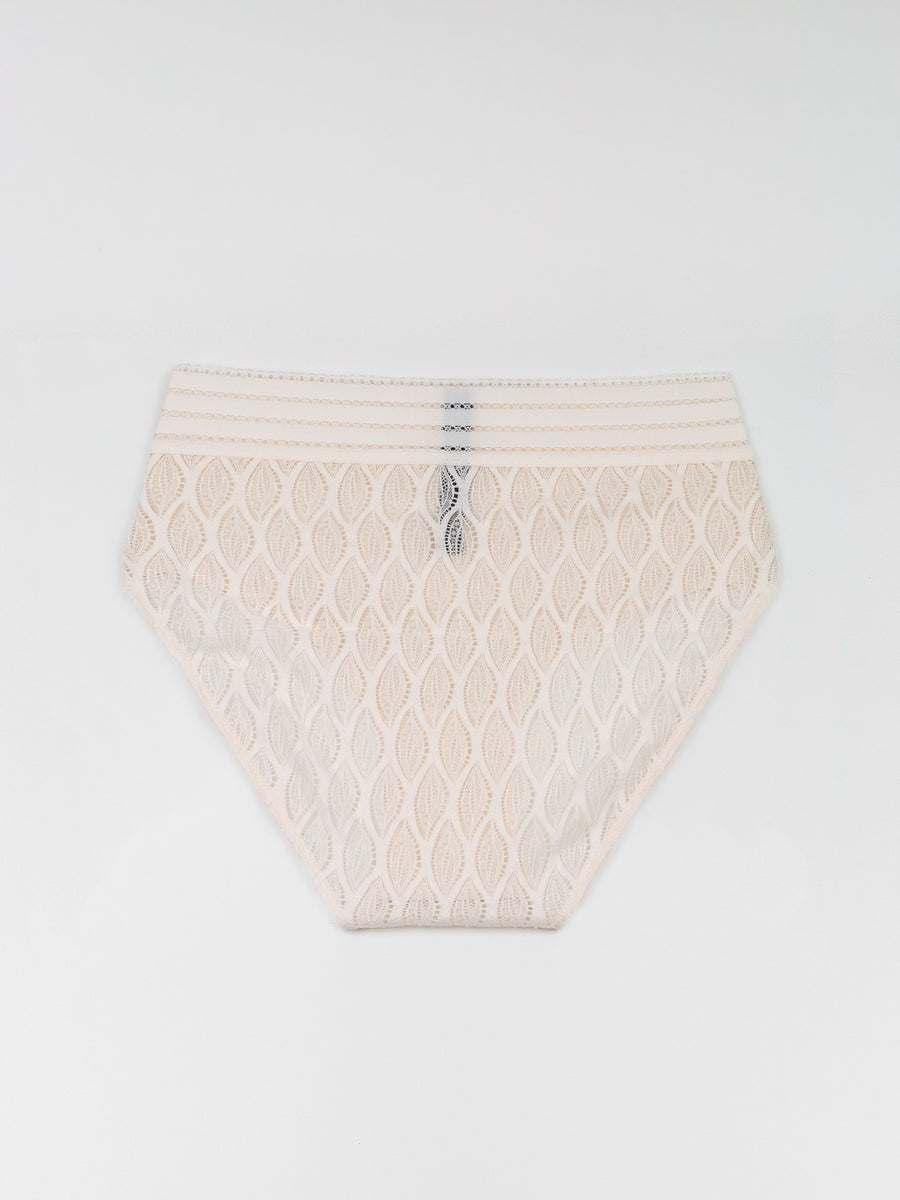 high waist geometric lace brief