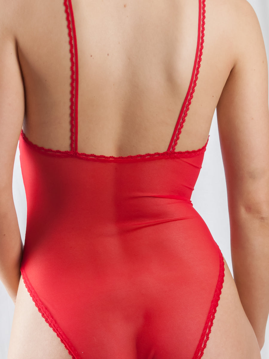 Sweet Tooth Lingerie red picot trimmed stretch tulle high leg bodysuit