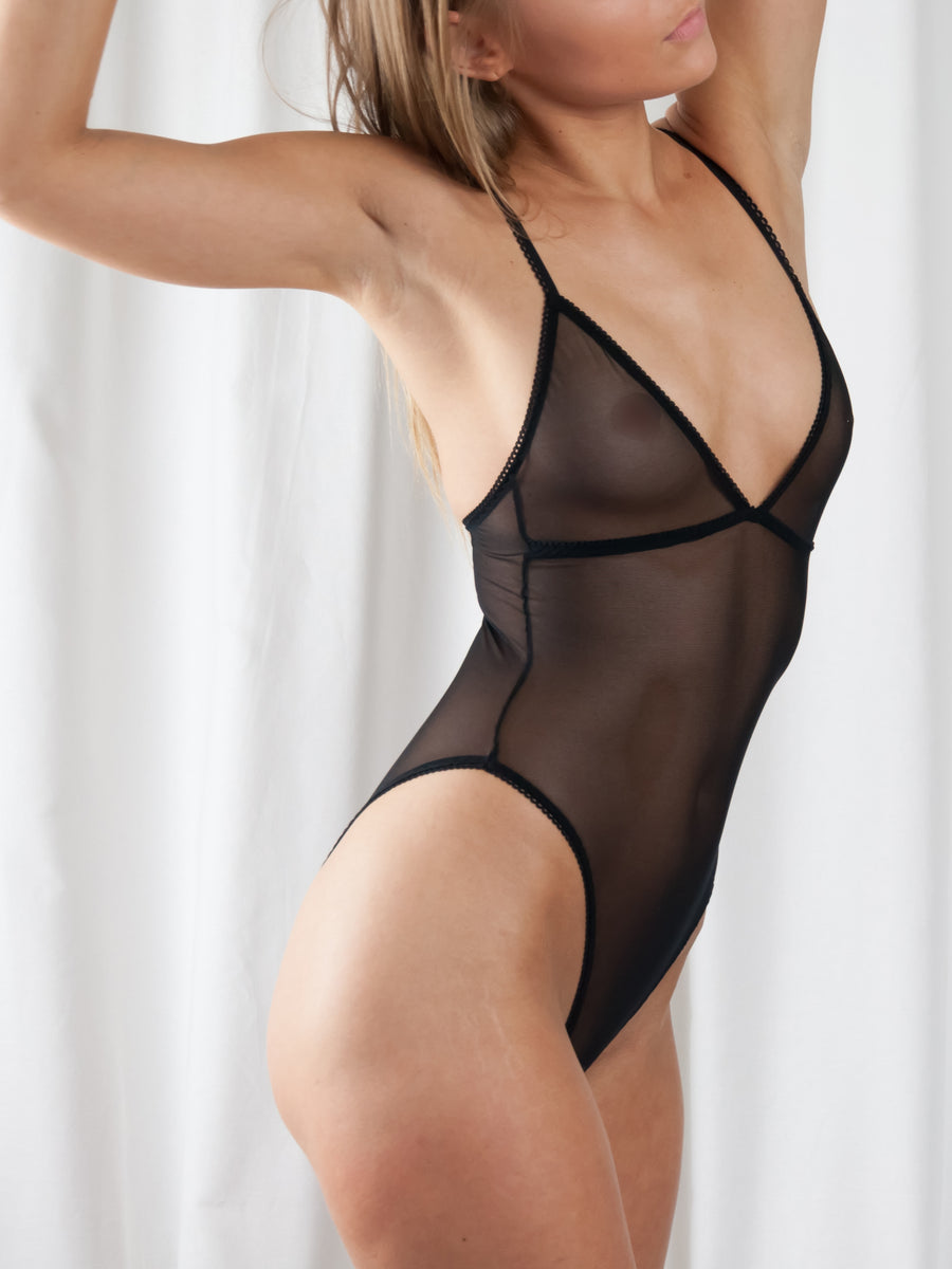 picot trimmed stretch tulle high leg bodysuit