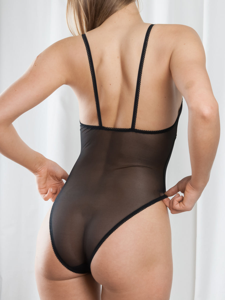 Sweet Tooth Lingerie black picot trimmed stretch tulle high leg bodysuit